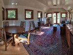 Main Living Area Of The Tower Cottage, Dining Area on Left, Kitchette on Right, Sitting Area Center