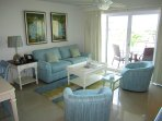 Spacious and bright aquamarine living room