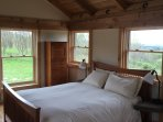 Post And Beam House TempurPedic Queen Size Bed, Cantilevered Stone Nightstands Windows Looking West