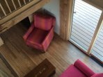Post And Beam House Living Room From Upstairs, Sofa Opens To Become Very Comfortable Queen Size Bed