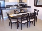 Dining area with 6-seat dining table.