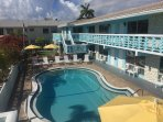 All our rooms overlook the pool deck.