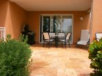 Your tropical patio with furniture and BBQ-grill!