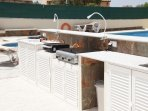 outdoor kitchen (1) with gas BBQ, plancha and double cooking ring and ...