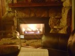 Fireplace is thermostat controlled natural gas