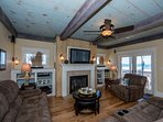 Living room has ocean views and top level deck access.