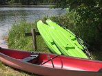 A canoe and kayaks are here for your use.  There is also a fishing boat and paddle boats available f