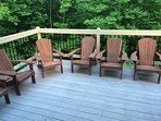 Large Deck with Adirondack  Chairs & BBQ