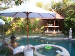 The swimming pool of the villa according to Feng Shui rules  good energy for yoga and meditation