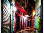 narrow at Psirri area ,many galleries,bars,restaurants,theatre s,atellier.