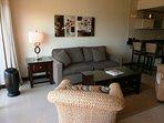 Queen-size sofa bed in living room