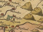 An antique map showing 'Melmerbye' where Kirkbride is located.