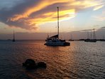 Sunset from Placencia Bay harbor.