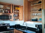 Fully equipped kitchen: dishes,, waffle maker, blender, mixer, toaster, toaster oven, food processor