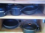 7 Pot set plus lids with two additional large anondized aluminum skillets, blender, mixer, food proc
