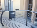Front door of the apartment block with wheelchair access.