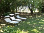Il giardino riservato agli ospiti con lettini, amache e area giochi per i bambini.