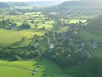 The Owlpen valley seen from a balloon
