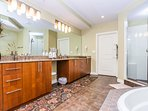 Master Suite Bathroom with Jacuzzi Tub and Walk In Shower w/ Dual Shower Heads