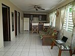 UPPER LEVEL APARTMENT EQUIPPED WITH WIFI, FLAT SCREEN TV, RUKO, FULL SIZE FUTON & KITCHEN UTENSILS.
