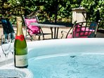 Acorns own Private Hot Tub on private terrace.  Bottle not supplied.