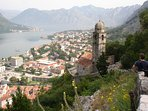 Walking the walls of Kotor. 10 minutes drive to the left.