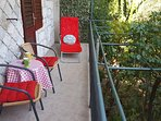 South balcony enjoys perfect privacy and a lovely view of our fruit & vegetable garden