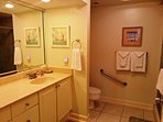 Master bathroom with a large shower.Handicap equipped. Washer/Dryer inside for your use.