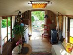 4th bedroom is at the 20th centenary gypsy van , sitting space & kitchinette