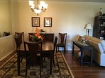 Spacious open formal dining room seats 6
