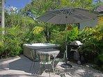 Spa in tropical courtyard