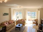 Delightfully spacious, soft shades, quality furnishings, modern comforts - a lounge for day & night!