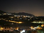 Beautiful, romantic night time views from the apartment, over the Mijas hills and mountains.