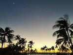 Crescent Moon over Fairmont Hotel in Resort