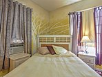 The bed features extremely comfortable linens.