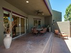Back pool patio with gas grill and outdoor dining