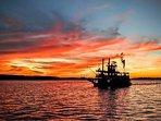 Chautauqua Belle at sunset on Lake Chautauqua, Bemus Point, NY.