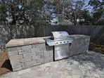 Stainless Steel Grill by the Pool Area