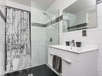 The Bathroom,, with large shower and extractor. Recently retiled