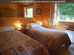 In your second bedroom, you are welcome to two single beds,