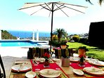 Al Fresco dining overlooking the Mediterranean, beautiful gardens and large pool!