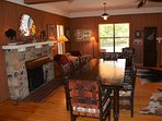 Spacious Dining Table Seats up to 10+. Additional seating in kitchen.