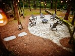 Dreamy Stone Patio with Fire Pit