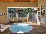 Unwind your body and mind in the community hot tub.