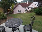 Bistro table in garden from which to admire the fantastic views across Porlock Bay
