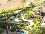 Lanai with koi pond view from this luxury vacation rental in Hawaii