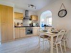 Spacious modern, open plan dining kitchen.