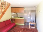 Kitchenette, dining and living