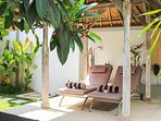 Gazebo with relaxing loungers