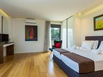 Master bedroom on the first floor with double bed & ensuite bathroom